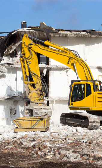 Construction Wrecker Clearing a Building